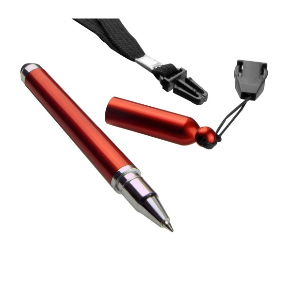 FAIR - Bolígrafo con acabado metálico, cordón y touch screen