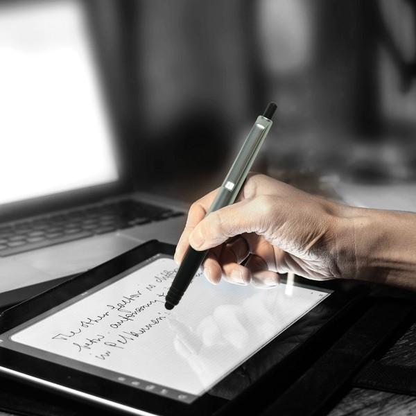 STYL - Bolígrafo plástico con sistema push y puntero stylus, tinta negra