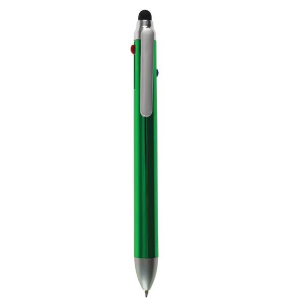 KUATRO - Bolígrafo plástico de 4 colores con puntero stylus