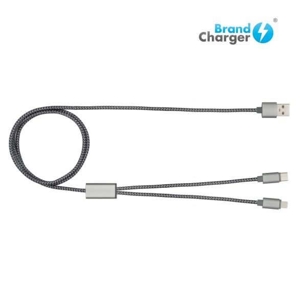 TRIDENT + - Cable de carga. Cuenta con tres tipos de entrada USB  (Micro / Lightning / Tipo C) y 1.20 metros de longitud